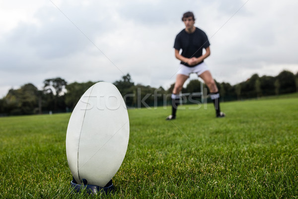 Rugby player about to kick ball Stock photo © wavebreak_media