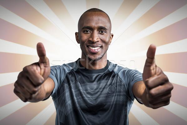 összetett kép portré atléta mosolyog mutat Stock fotó © wavebreak_media