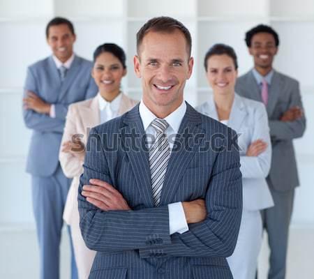Portrait joyeux équipe commerciale blanche affaires sourire Photo stock © wavebreak_media