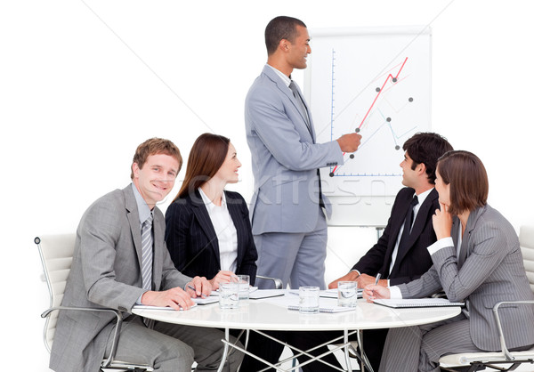 Self-assured businessman reporting sales figures  Stock photo © wavebreak_media