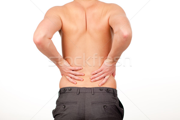 Man with backpain isolated agasint white Stock photo © wavebreak_media