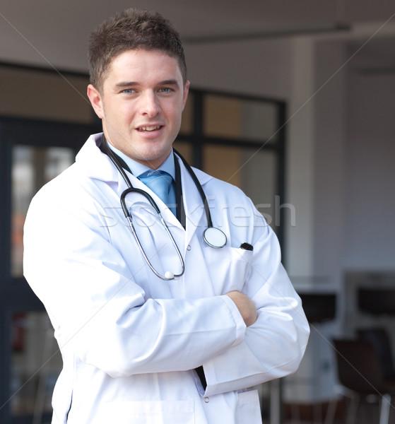 Portré sebész mosoly orvos orvosi zöld Stock fotó © wavebreak_media