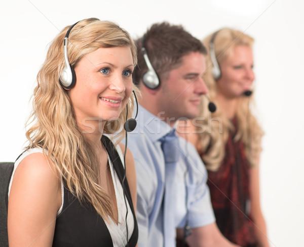 Drie mensen call center drie werken business kantoor Stockfoto © wavebreak_media