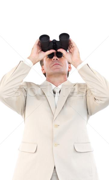Ernst Geschäftsmann schauen Fernglas Kamera stehen Stock foto © wavebreak_media