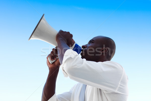 Zakenman megafoon afrikaanse gras werk Stockfoto © wavebreak_media