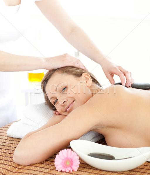 Ritratto donna massaggio pietre spa corpo Foto d'archivio © wavebreak_media