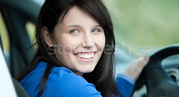 Stock fotó: Fényes · női · sofőr · ül · autó · mosolyog