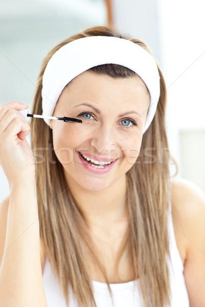 örvend fiatal nő smink fürdőszoba otthon arc Stock fotó © wavebreak_media