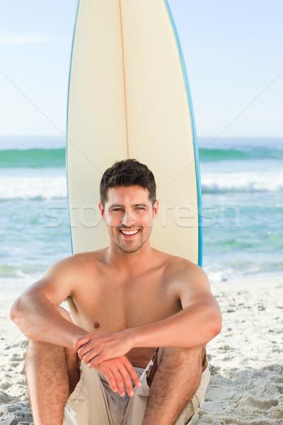 красивый мужчина доска для серфинга пляж небе воды человека Сток-фото © wavebreak_media