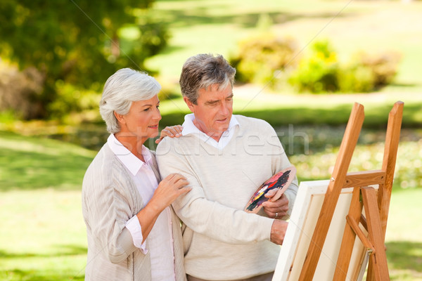 Retired couple painting in the park Stock photo © wavebreak_media