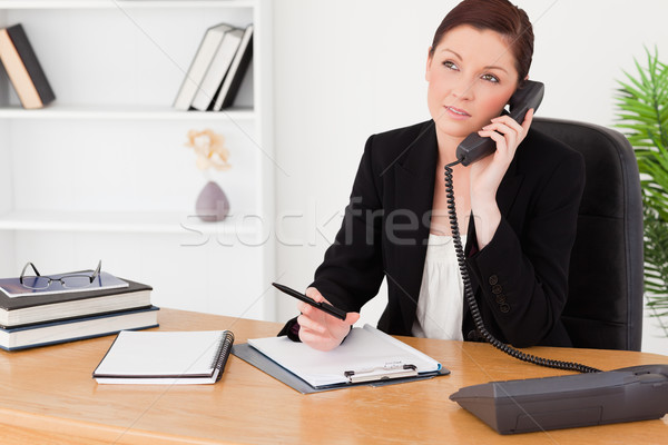 Good looking red-haired woman in suit writing on a notepad and phoning while sitting in an office Stock photo © wavebreak_media