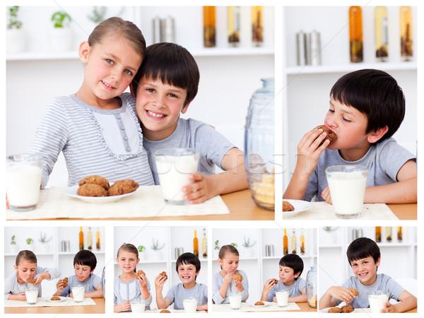 Kolaż dzieci przekąska strony twarz szkła Zdjęcia stock © wavebreak_media