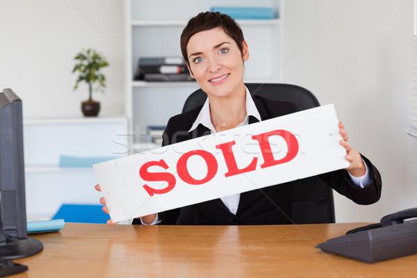 Boldog ingatlanügynök eladva panel iroda otthon Stock fotó © wavebreak_media