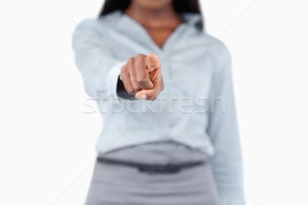 женский пальца прикасаться невидимый экране белый Сток-фото © wavebreak_media