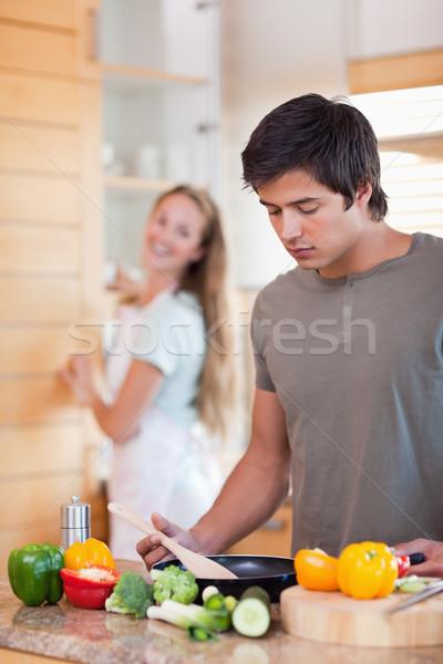 портрет человека приготовления жена мытье посуды кухне Сток-фото © wavebreak_media