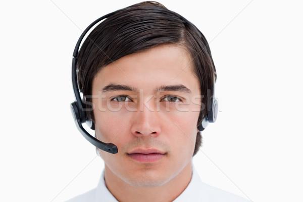 Mannelijke call center agent hoofdtelefoon witte Stockfoto © wavebreak_media