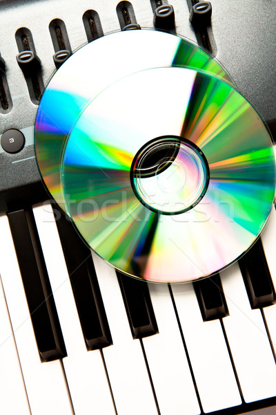Close up of a compact disc on a grey synth Stock photo © wavebreak_media