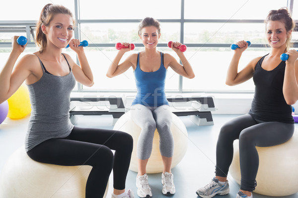 Stock photo: Smiling women lifting weights on an exercise ball in a gym