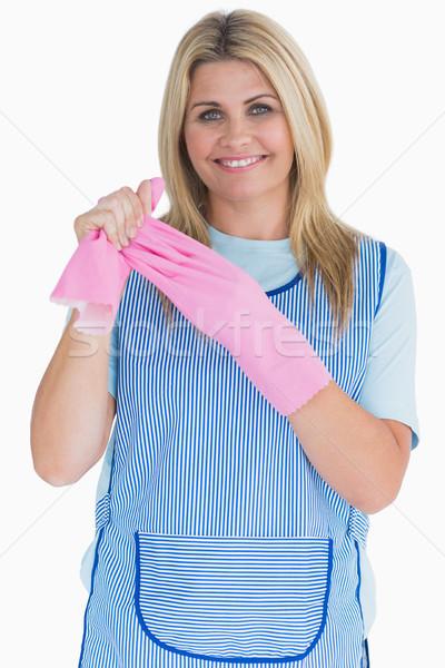 чистого женщину розовый перчатки белый очистки Сток-фото © wavebreak_media