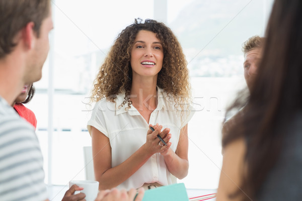 Happy therapist talking with a rehab group Stock photo © wavebreak_media