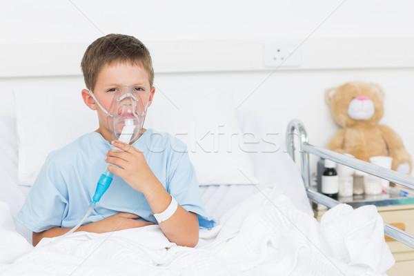 Boy wearing oxygen mask in hospital Stock photo © wavebreak_media
