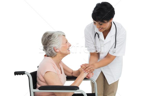 Stock fotó: Női · orvos · beszél · idős · beteg · tolószék