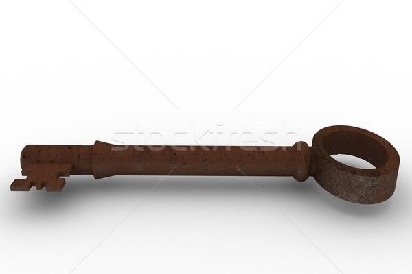 Dijital oluşturulan paslı eski anahtar beyaz Stok fotoğraf © wavebreak_media