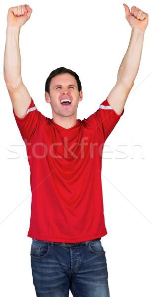éljenez futball ventillátor piros fehér férfi Stock fotó © wavebreak_media