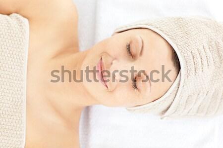 мирный брюнетка массаж таблице счастливым Сток-фото © wavebreak_media