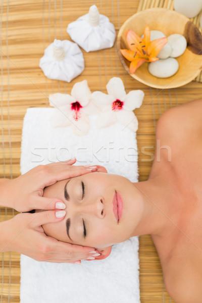 Sorridere bruna testa massaggio Foto d'archivio © wavebreak_media
