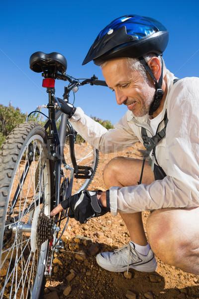 велосипедист велосипедов цепь стране местность Сток-фото © wavebreak_media