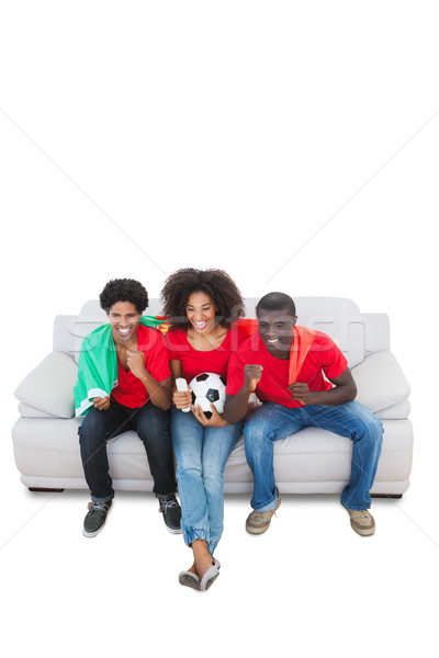 Portugalia piłka nożna fanów czerwony sofa biały Zdjęcia stock © wavebreak_media
