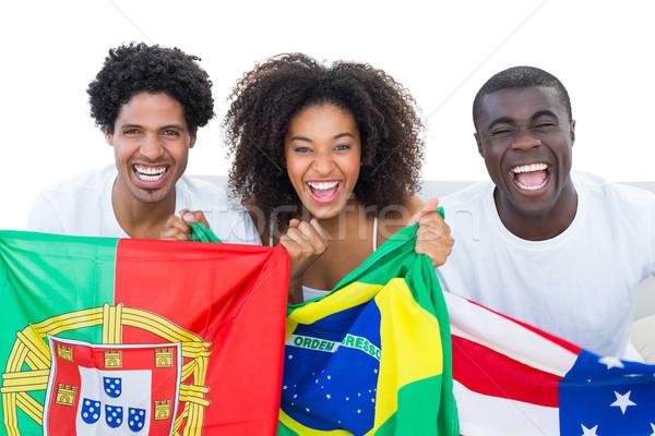 Stock fotó: Boldog · futball · szurkolók · tart · zászlók · mosolyog
