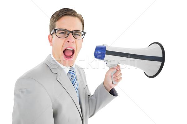 Zakenman megafoon witte business praten Stockfoto © wavebreak_media