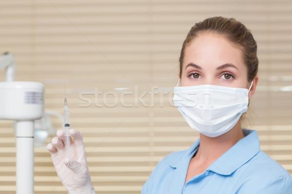 Tandheelkundige assistent injectie naar camera Stockfoto © wavebreak_media
