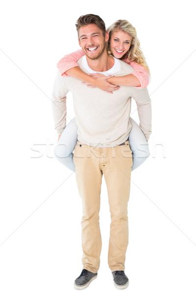 Knappe man Maakt een reservekopie vriendin witte man Stockfoto © wavebreak_media