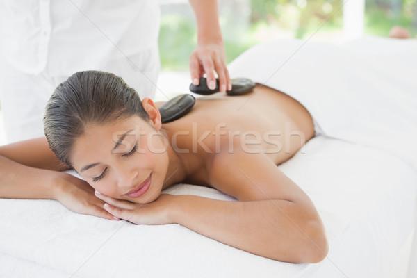 Bella bruna caldo pietra massaggio Foto d'archivio © wavebreak_media