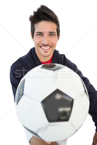 Lächelnd gut aussehend Fußball Fan Porträt Stock foto © wavebreak_media