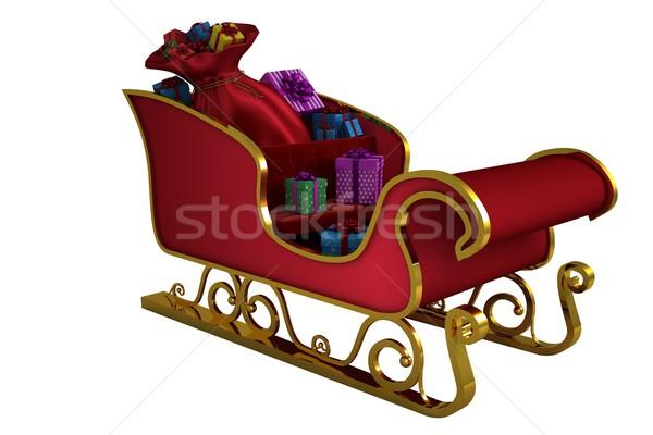 Piros arany mikulás szánkó fehér ajándék Stock fotó © wavebreak_media