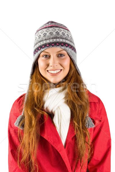 Csinos vörös hajú nő meleg ruha fehér boldog tél Stock fotó © wavebreak_media