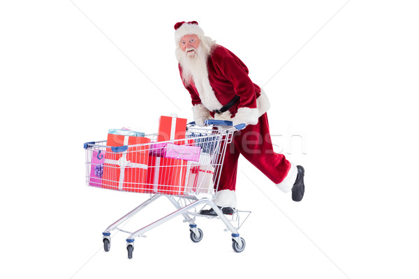 Stock fotó: Mikulás · bevásárlókocsi · fehér · férfi · vásárlás · jókedv