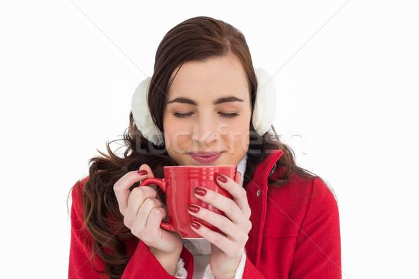 Vrouw winter kleding genieten warme drank Stockfoto © wavebreak_media