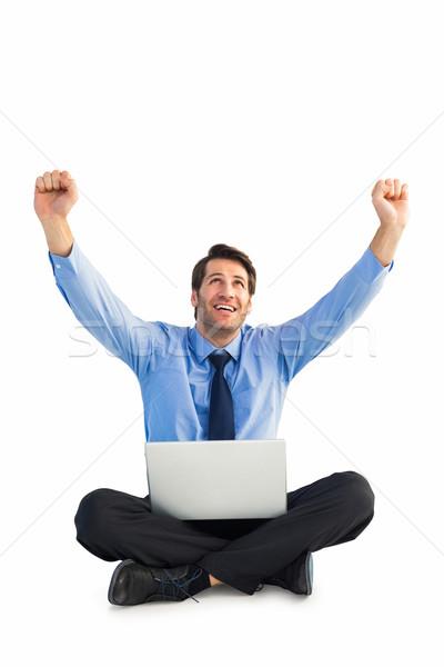 üzletember éljenez laptop ül padló fehér Stock fotó © wavebreak_media