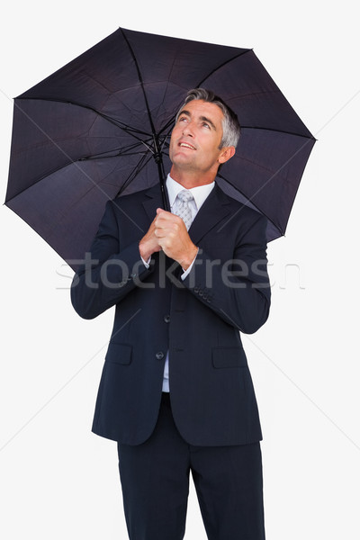 Smiling businessman sheltering with umbrella Stock photo © wavebreak_media