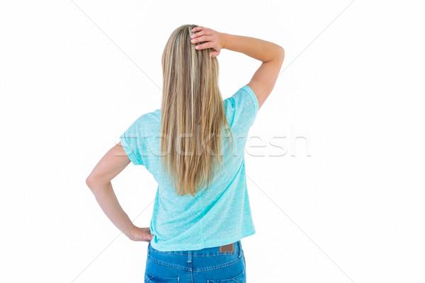 Hátsó nézet szőke nő pózol kéz csípő fehér Stock fotó © wavebreak_media