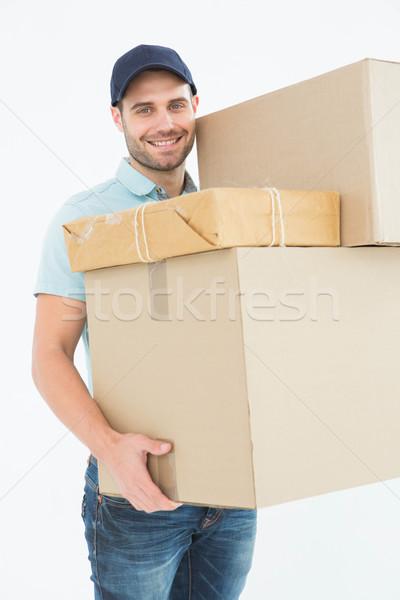 Stock foto: Glücklich · tragen · Karton · Boxen · Porträt