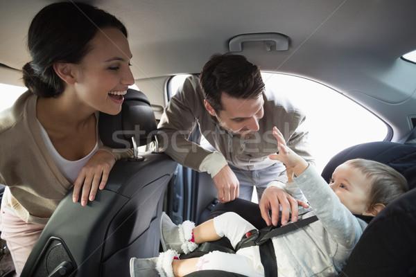 Padres bebé coche asiento nino padre Foto stock © wavebreak_media