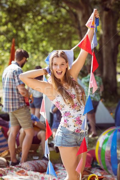 Güzel poz kamera bayraklar müzik festivali Stok fotoğraf © wavebreak_media