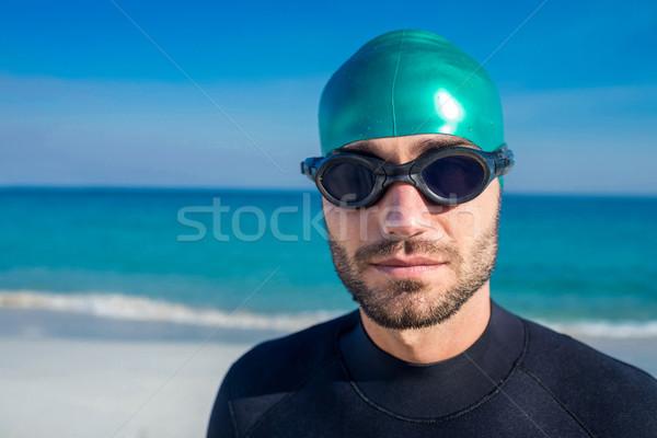 Nuotatore pronto spiaggia uomo mare Foto d'archivio © wavebreak_media
