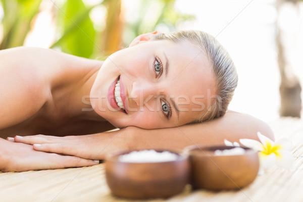 Beautiful woman receiving massage at spa center Stock photo © wavebreak_media